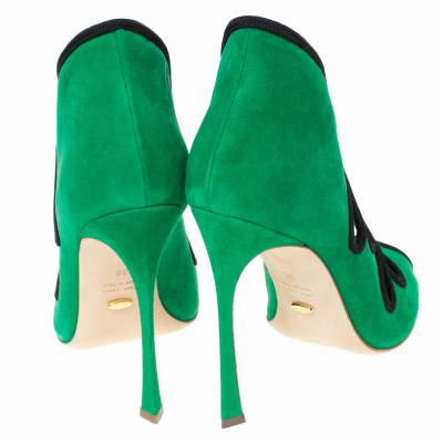 Sergio Rossi Green Suede Lagoon Cut Out Pumps Size 38 294480 - 4