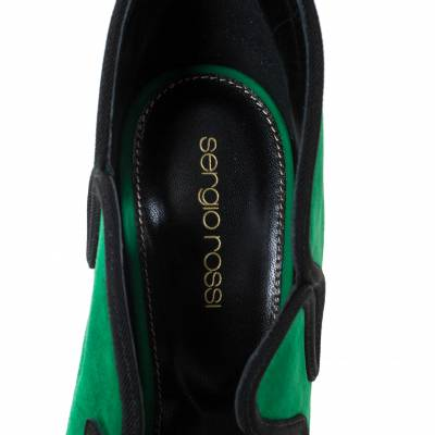 Sergio Rossi Green Suede Lagoon Cut Out Pumps Size 38 294480 - 6