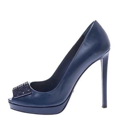 Dior Blue Leather Cannage Plaque Peep Toe Platform Pumps Size 37 294733 - 1
