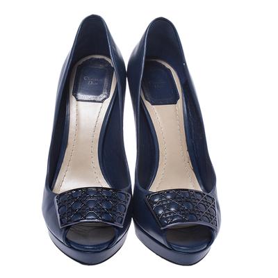 Dior Blue Leather Cannage Plaque Peep Toe Platform Pumps Size 37 294733 - 2