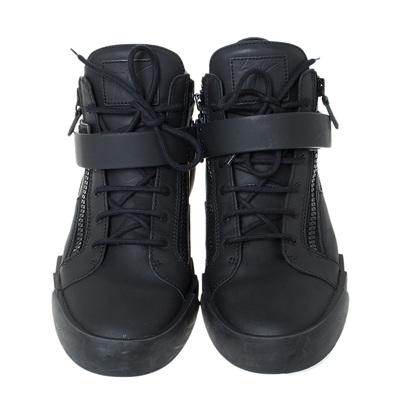 Giuseppe Zanotti Design Black Matte Leather High Top Lace Up Sneakers 44 294436 - 2