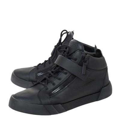 Giuseppe Zanotti Design Black Matte Leather High Top Lace Up Sneakers 44 294436 - 3