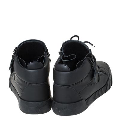 Giuseppe Zanotti Design Black Matte Leather High Top Lace Up Sneakers 44 294436 - 4