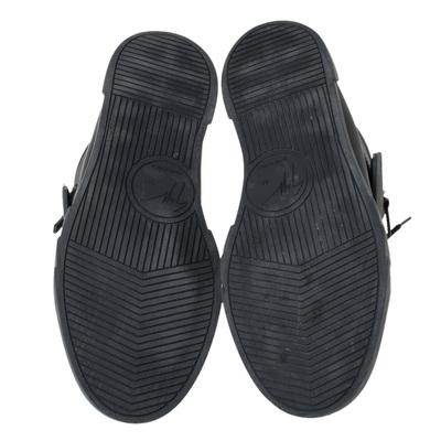 Giuseppe Zanotti Design Black Matte Leather High Top Lace Up Sneakers 44 294436 - 5