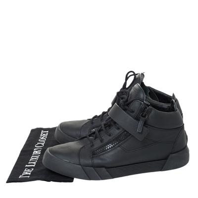 Giuseppe Zanotti Design Black Matte Leather High Top Lace Up Sneakers 44 294436 - 7