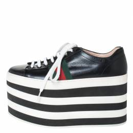 Gucci Black Leather Peggy Web Detail Platform Sneakers Size 38 294437