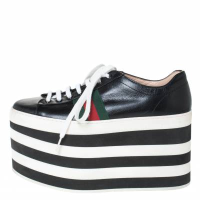 Gucci Black Leather Peggy Web Detail Platform Sneakers Size 38 294437 - 1
