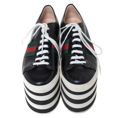 Gucci Black Leather Peggy Web Detail Platform Sneakers Size 38 294437 - 2