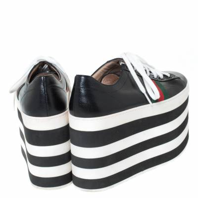 Gucci Black Leather Peggy Web Detail Platform Sneakers Size 38 294437 - 4
