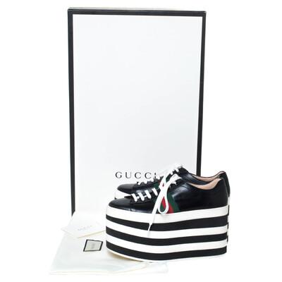 Gucci Black Leather Peggy Web Detail Platform Sneakers Size 38 294437 - 7
