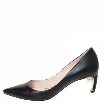 Nicholas Kirkwood Black Leather Maeva Pumps Size 38 294431 - 1