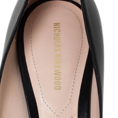 Nicholas Kirkwood Black Leather Maeva Pumps Size 38 294431 - 6