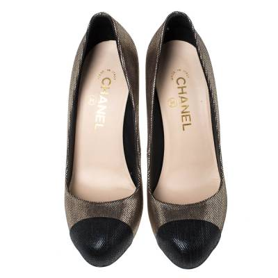 Chanel Metallic Gold/Black Dot Pattern Leather CC Logo Cap Toe Pumps Size 39 294572 - 2