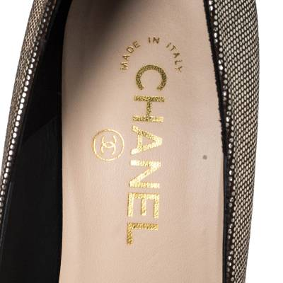 Chanel Metallic Gold/Black Dot Pattern Leather CC Logo Cap Toe Pumps Size 39 294572 - 6