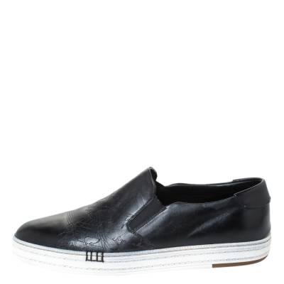 Berluti Black Leather Playtime Palermo Scritto Slip On Sneaker Size 43.5 294432 - 1