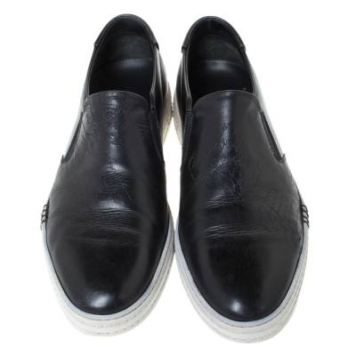 Berluti Black Leather Playtime Palermo Scritto Slip On Sneaker Size 43.5 294432 - 2