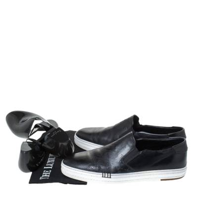 Berluti Black Leather Playtime Palermo Scritto Slip On Sneaker Size 43.5 294432 - 7