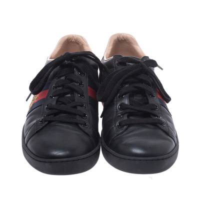 Gucci Black Leather Ace Web Bee Low Top Lace Up Sneakers Size 38.5 294839 - 2