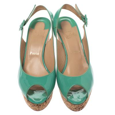 Christian Louboutin Mint Green Patent Leather Cork Wedges Slingback Sandals Size 40 293764 - 2
