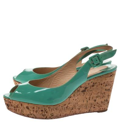 Christian Louboutin Mint Green Patent Leather Cork Wedges Slingback Sandals Size 40 293764 - 3