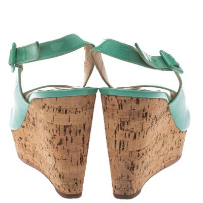 Christian Louboutin Mint Green Patent Leather Cork Wedges Slingback Sandals Size 40 293764 - 4