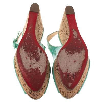 Christian Louboutin Mint Green Patent Leather Cork Wedges Slingback Sandals Size 40 293764 - 5