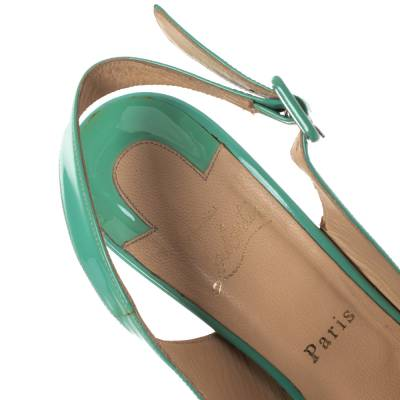 Christian Louboutin Mint Green Patent Leather Cork Wedges Slingback Sandals Size 40 293764 - 6