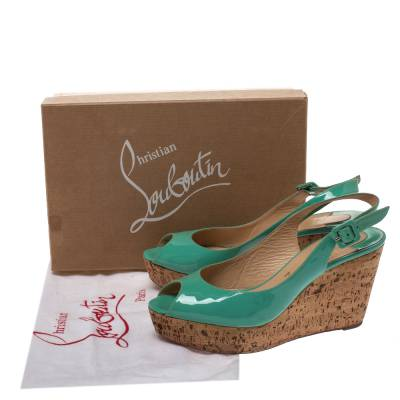 Christian Louboutin Mint Green Patent Leather Cork Wedges Slingback Sandals Size 40 293764 - 7