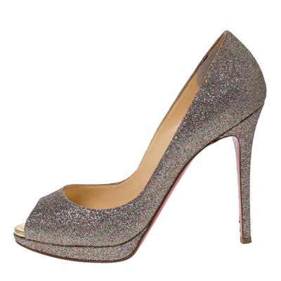 Christian Louboutin Multicolor Glitter Leather Yolanda Peep Toe Pumps Size 39.5 293767 - 1