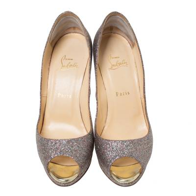 Christian Louboutin Multicolor Glitter Leather Yolanda Peep Toe Pumps Size 39.5 293767 - 2