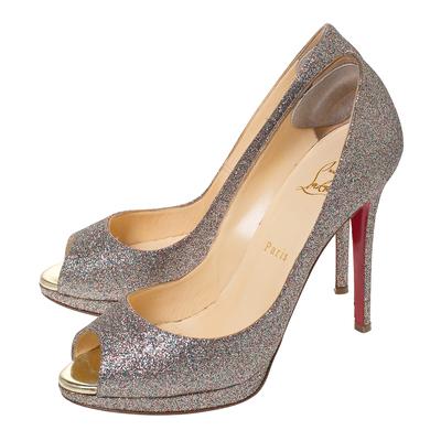 Christian Louboutin Multicolor Glitter Leather Yolanda Peep Toe Pumps Size 39.5 293767 - 3
