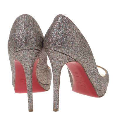 Christian Louboutin Multicolor Glitter Leather Yolanda Peep Toe Pumps Size 39.5 293767 - 4