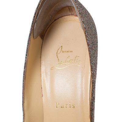 Christian Louboutin Multicolor Glitter Leather Yolanda Peep Toe Pumps Size 39.5 293767 - 6