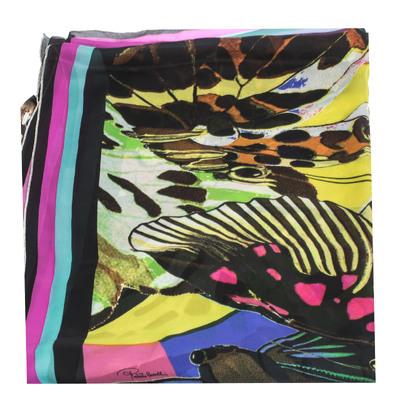 Roberto Cavalli Multicolor Butterfly Print Silk Scarf 292752 - 1