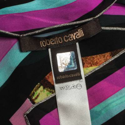 Roberto Cavalli Multicolor Butterfly Print Silk Scarf 292752 - 4