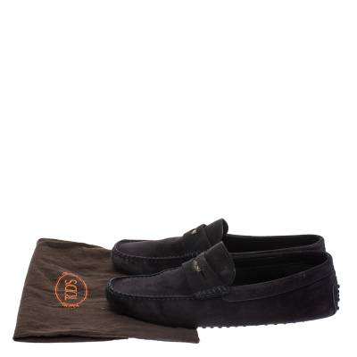 Tod's Dark Blue Suede Penny Loafers Size 44 293760 - 7