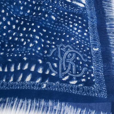 Roberto Cavalli Blue & White Abstract Print Silk Scarf 292664 - 1