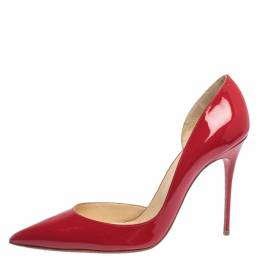 Christian Louboutin Red Patent Leather Iriza D'orsay Pumps Size 41 294585