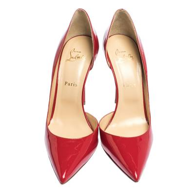 Christian Louboutin Red Patent Leather Iriza D'orsay Pumps Size 41 294585 - 2