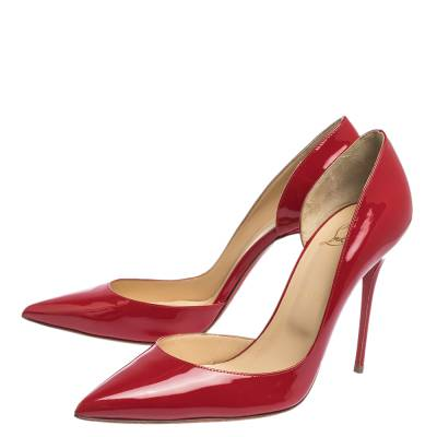 Christian Louboutin Red Patent Leather Iriza D'orsay Pumps Size 41 294585 - 3