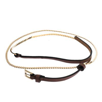 Valentino Dark Beige Leather and Chain Link Slim Belt 95CM 294238 - 1