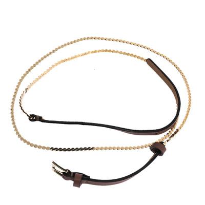 Valentino Dark Beige Leather and Chain Link Slim Belt 95CM 294238 - 2