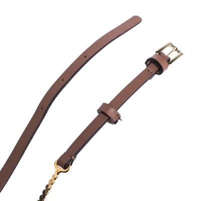 Valentino Dark Beige Leather and Chain Link Slim Belt 95CM 294238 - 3