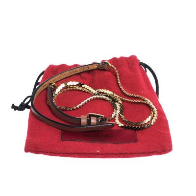 Valentino Dark Beige Leather and Chain Link Slim Belt 95CM 294238 - 5