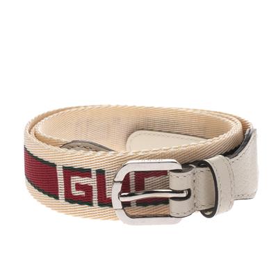Gucci Off White Fabric Logo Belt 100CM 294235 - 1