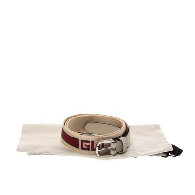 Gucci Off White Fabric Logo Belt 100CM 294235 - 5