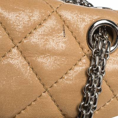 Chanel Beige Quilted Iridescent Leather Reissue 2.55 Classic 227 Flap Bag 294232 - 4