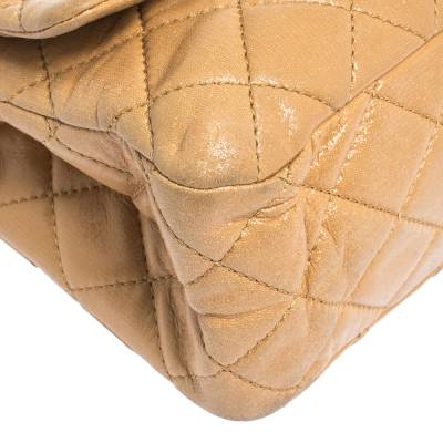 Chanel Beige Quilted Iridescent Leather Reissue 2.55 Classic 227 Flap Bag 294232 - 10