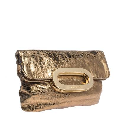 Michael Kors Metallic Gold Leather Fold Over Clutch 294230 - 2