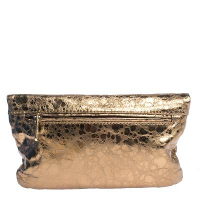 Michael Kors Metallic Gold Leather Fold Over Clutch 294230 - 3